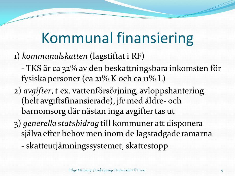 Kommunal finansiering 1) kommunalskatten (lagstiftat i RF) - TKS är ca 32% av den beskattningsbara inkomsten för fysiska personer (ca 21% K och ca 11%