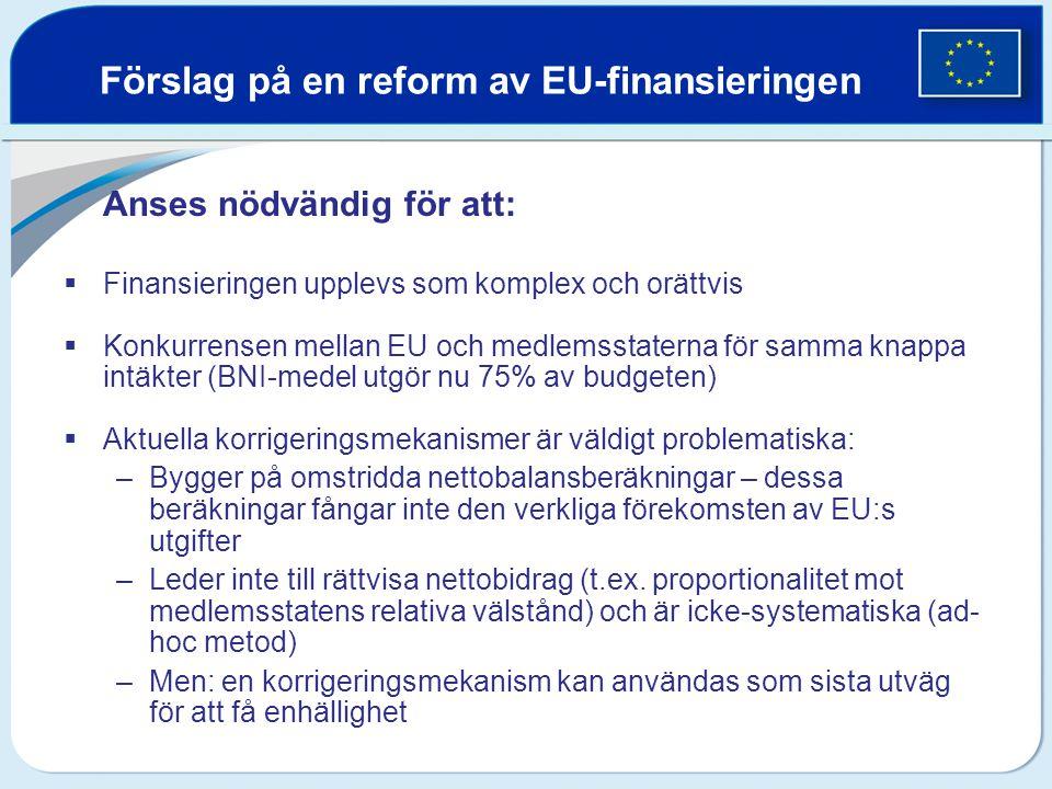 Förslag på en reform av EU-finansieringen Anses nödvändig för att:  Finansieringen upplevs som komplex och orättvis  Konkurrensen mellan EU och medl