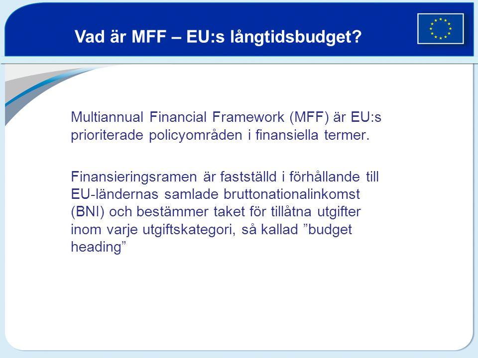 Vad är MFF – EU:s långtidsbudget? Multiannual Financial Framework (MFF) är EU:s prioriterade policyområden i finansiella termer. Finansieringsramen är