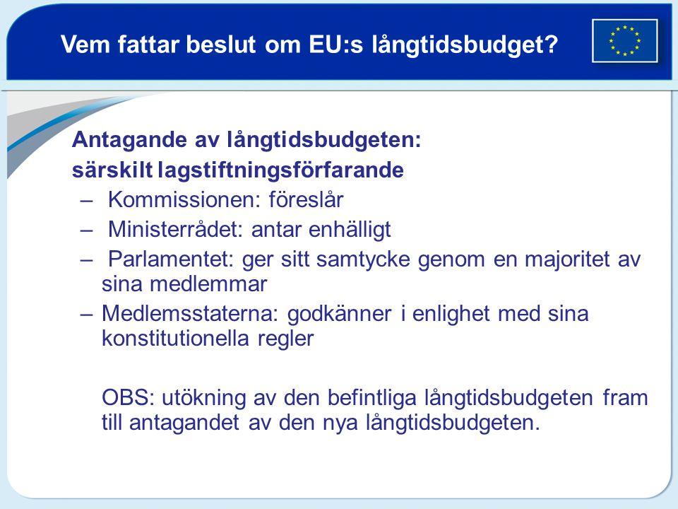 Vem fattar beslut om EU:s långtidsbudget? Antagande av långtidsbudgeten: särskilt lagstiftningsförfarande – Kommissionen: föreslår – Ministerrådet: an