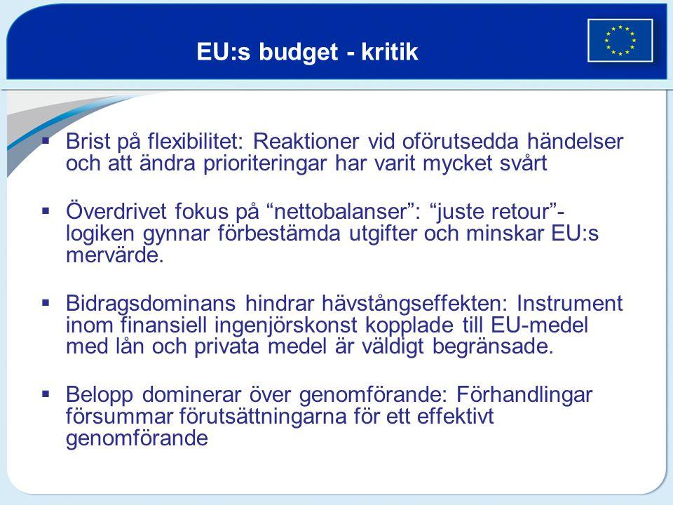 EU:s budget - kritik  Brist på flexibilitet: Reaktioner vid oförutsedda händelser och att ändra prioriteringar har varit mycket svårt  Överdrivet fo