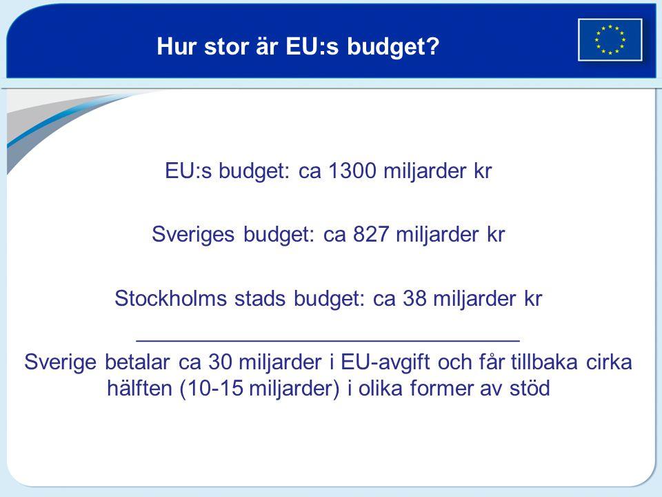 EU:s budget: ca 1300 miljarder kr Sveriges budget: ca 827 miljarder kr Stockholms stads budget: ca 38 miljarder kr _______________________________ Sve