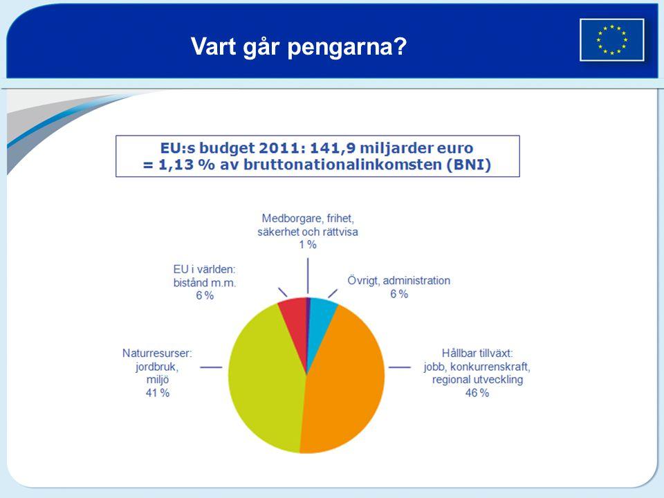 Sveriges EU-avgift och återflöde 2010  Avgift: 29,7 miljarder kronor  Återflöde: 13,9 miljarder kronor från EU  Nettoflöde: -15,8 miljarder kronor Hur mycket får Sverige av EU:s budget?