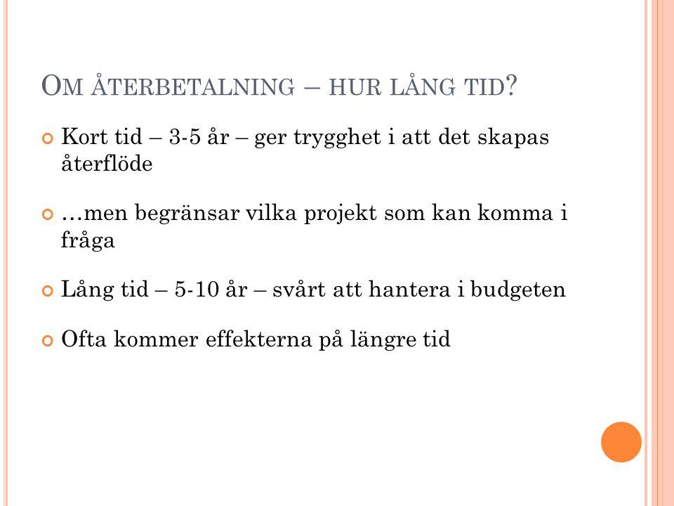 O M ÅTERBETALNING – HUR LÅNG TID .