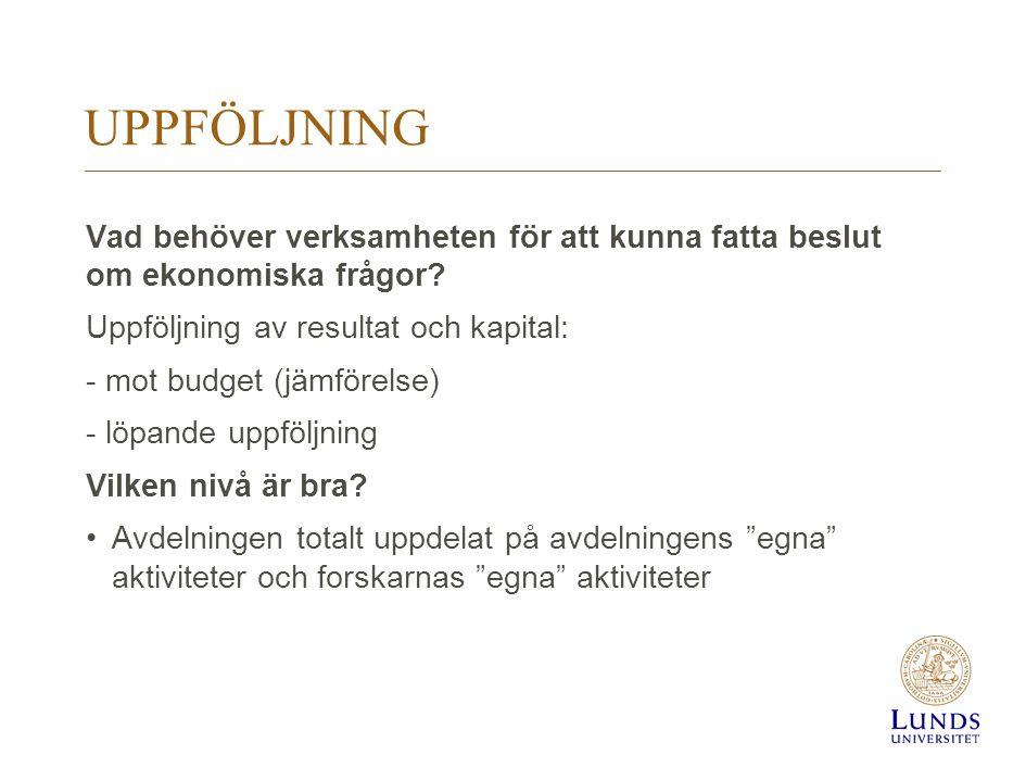 UPPFÖLJNING Vad behöver verksamheten för att kunna fatta beslut om ekonomiska frågor? Uppföljning av resultat och kapital: - mot budget (jämförelse) -