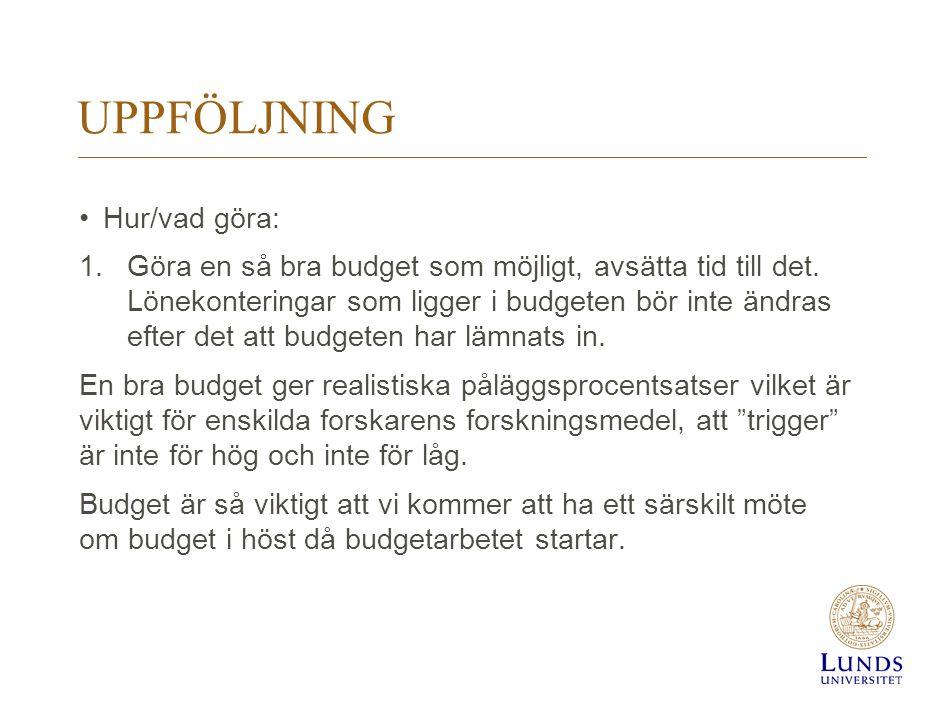 UPPFÖLJNING Hur/vad göra: 1.Göra en så bra budget som möjligt, avsätta tid till det. Lönekonteringar som ligger i budgeten bör inte ändras efter det a