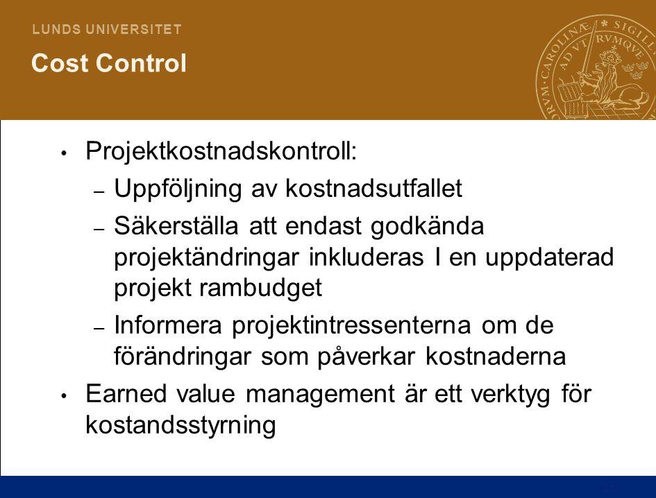 25 L U N D S U N I V E R S I T E T Cost Control Projektkostnadskontroll: – Uppföljning av kostnadsutfallet – Säkerställa att endast godkända projektän