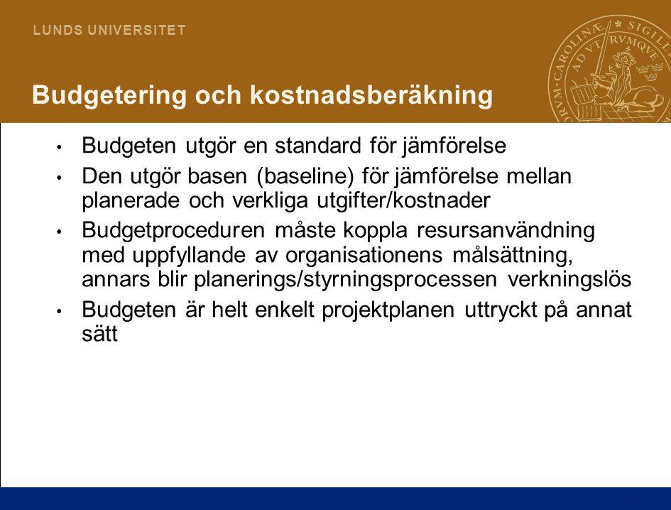 8 L U N D S U N I V E R S I T E T Budgetering och kostnadsberäkning Budgeten utgör en standard för jämförelse Den utgör basen (baseline) för jämförels