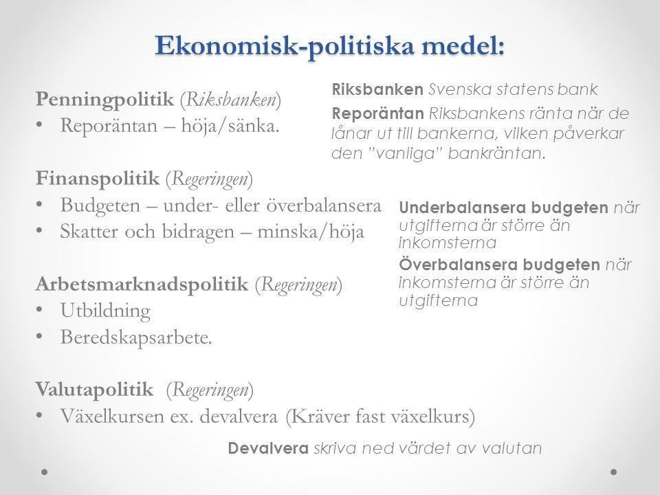 Ekonomisk-politiska medel: Penningpolitik (Riksbanken) Reporäntan – höja/sänka. Finanspolitik (Regeringen) Budgeten – under- eller överbalansera Skatt