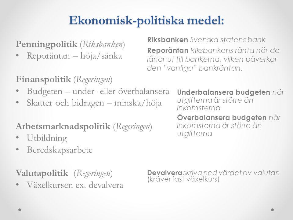 Ekonomisk-politiska medel: Penningpolitik (Riksbanken) Reporäntan – höja/sänka Finanspolitik (Regeringen) Budgeten – under- eller överbalansera Skatte