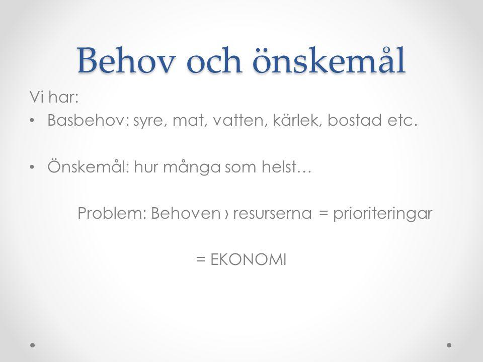 Behov och önskemål Vi har: Basbehov: syre, mat, vatten, kärlek, bostad etc. Önskemål: hur många som helst… Problem: Behoven › resurserna = prioriterin