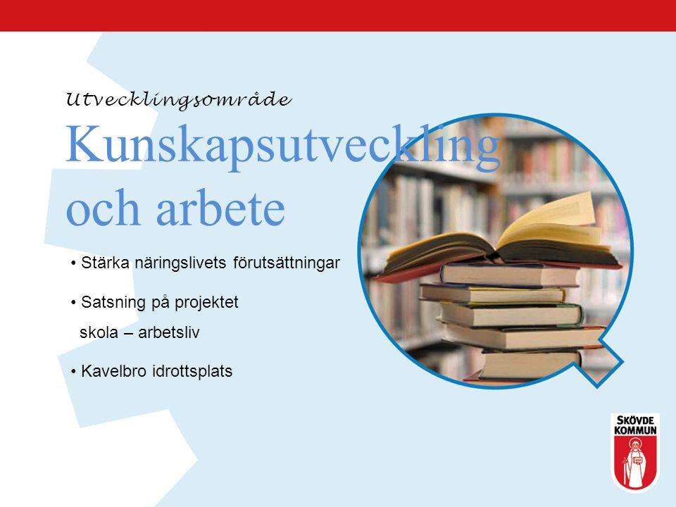Utvecklingsområde Kunskapsutveckling och arbete Stärka näringslivets förutsättningar Satsning på projektet skola – arbetsliv Kavelbro idrottsplats