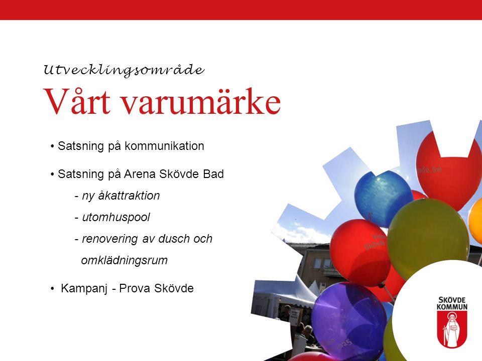 Vårt varumärke Satsning på kommunikation Satsning på Arena Skövde Bad - ny åkattraktion - utomhuspool - renovering av dusch och omklädningsrum Kampanj