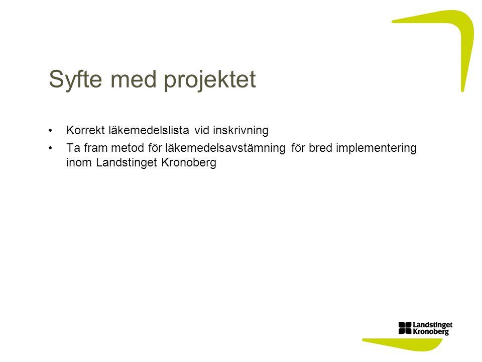 Syfte med projektet Korrekt läkemedelslista vid inskrivning Ta fram metod för läkemedelsavstämning för bred implementering inom Landstinget Kronoberg