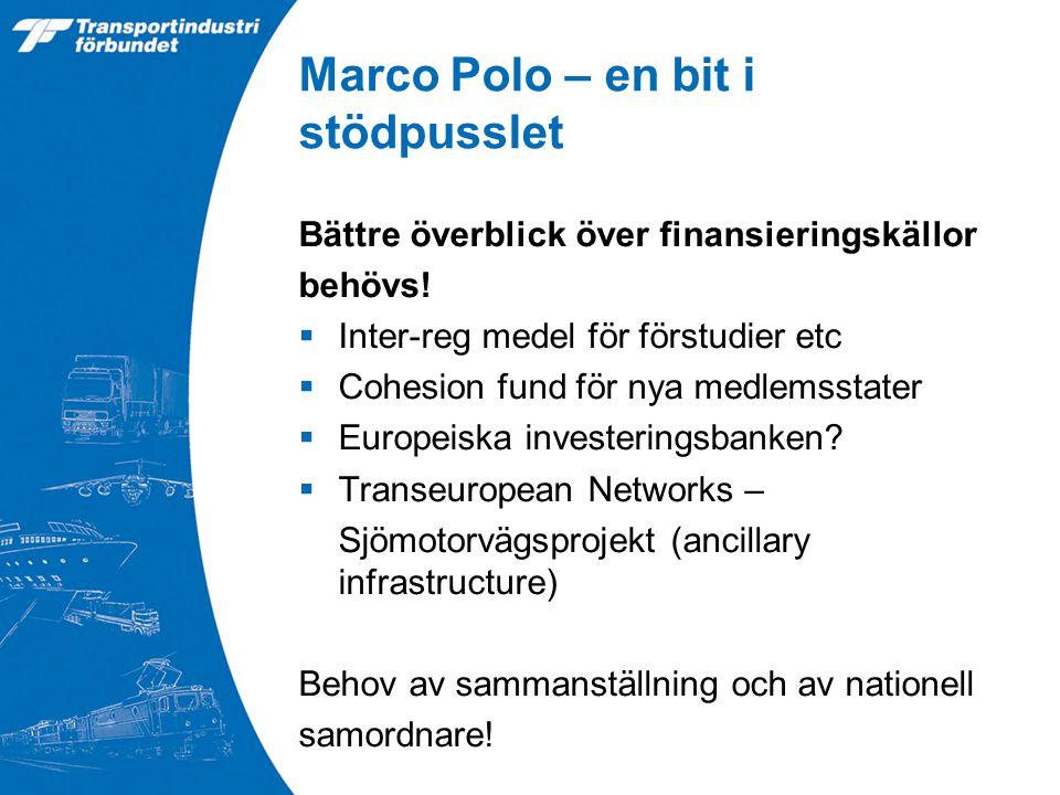 Marco Polo – en bit i stödpusslet Bättre överblick över finansieringskällor behövs.