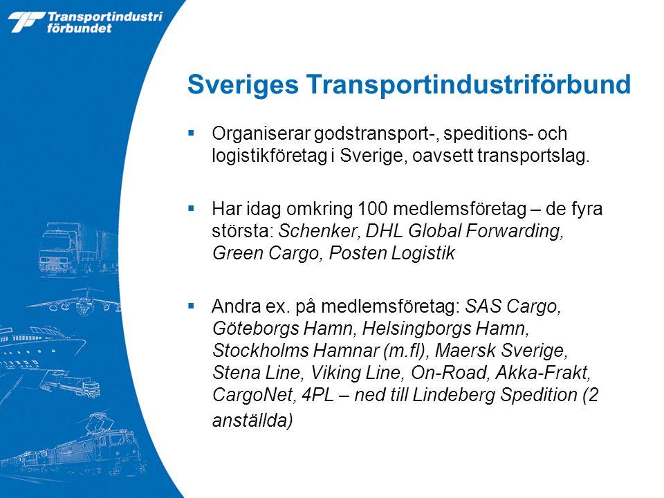 Sveriges Transportindustriförbund  Organiserar godstransport-, speditions- och logistikföretag i Sverige, oavsett transportslag.