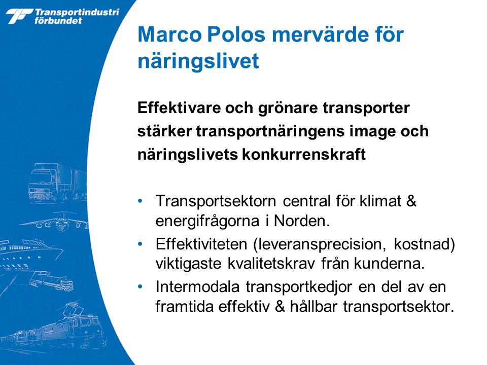 Marco Polos mervärde för näringslivet Effektivare och grönare transporter stärker transportnäringens image och näringslivets konkurrenskraft Transportsektorn central för klimat & energifrågorna i Norden.