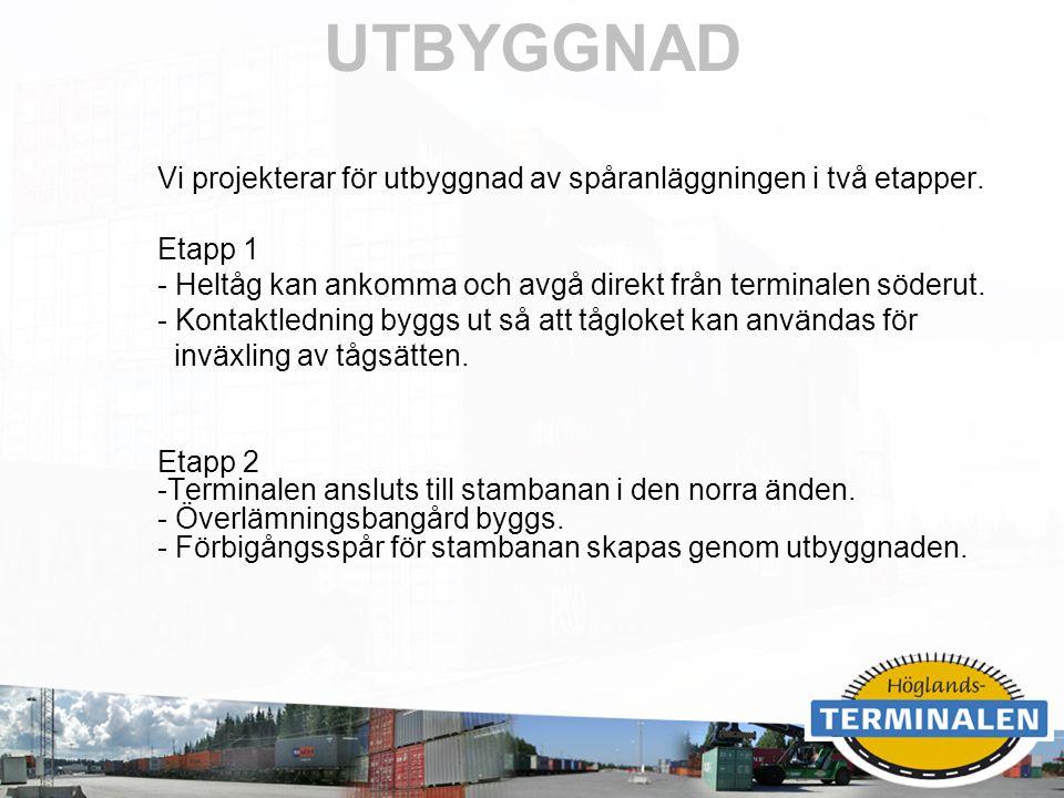 RUBRIK UTBYGGNAD Vi projekterar för utbyggnad av spåranläggningen i två etapper. Etapp 1 - Heltåg kan ankomma och avgå direkt från terminalen söderut.