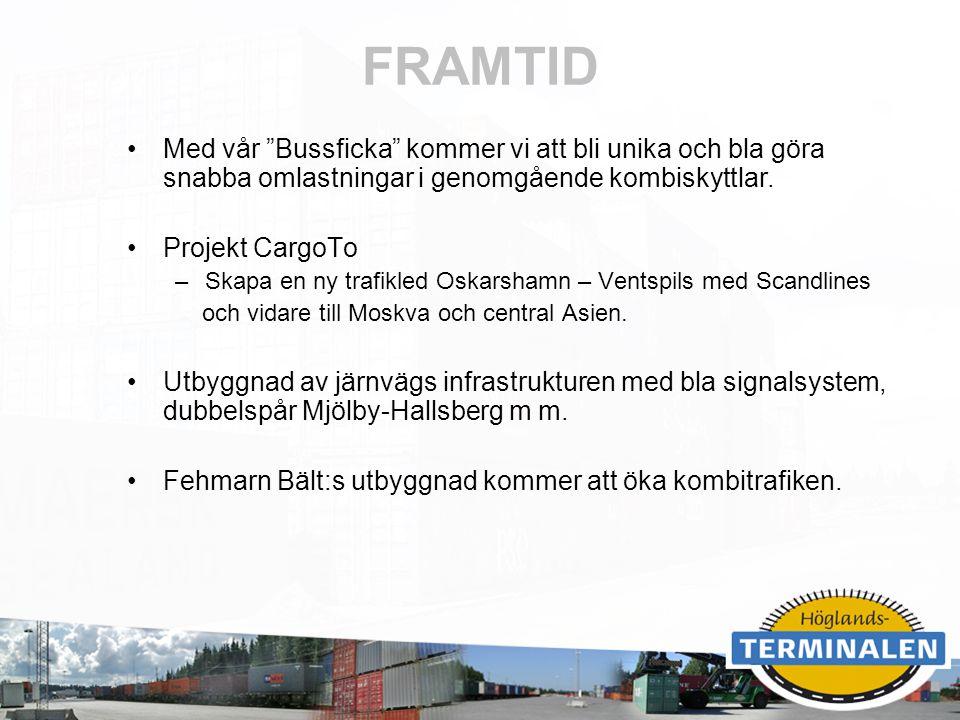 """RUBRIK FRAMTID Med vår """"Bussficka"""" kommer vi att bli unika och bla göra snabba omlastningar i genomgående kombiskyttlar. Projekt CargoTo –Skapa en ny"""