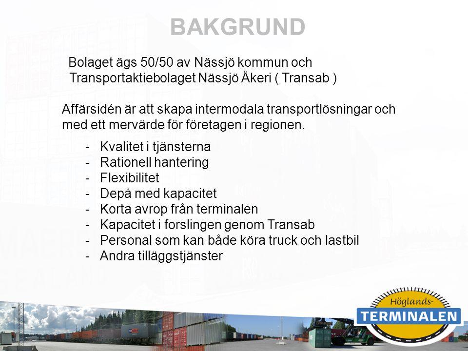 RUBRIK BAKGRUND Bolaget ägs 50/50 av Nässjö kommun och Transportaktiebolaget Nässjö Åkeri ( Transab ) Affärsidén är att skapa intermodala transportlös