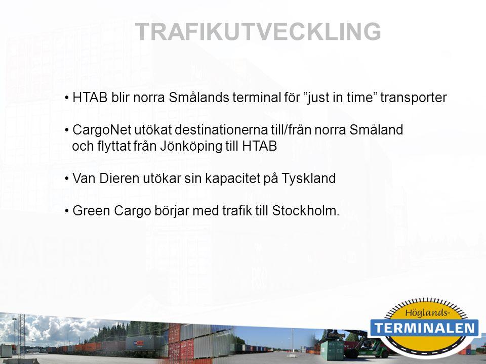 """RUBRIK TRAFIKUTVECKLING HTAB blir norra Smålands terminal för """"just in time"""" transporter CargoNet utökat destinationerna till/från norra Småland och f"""
