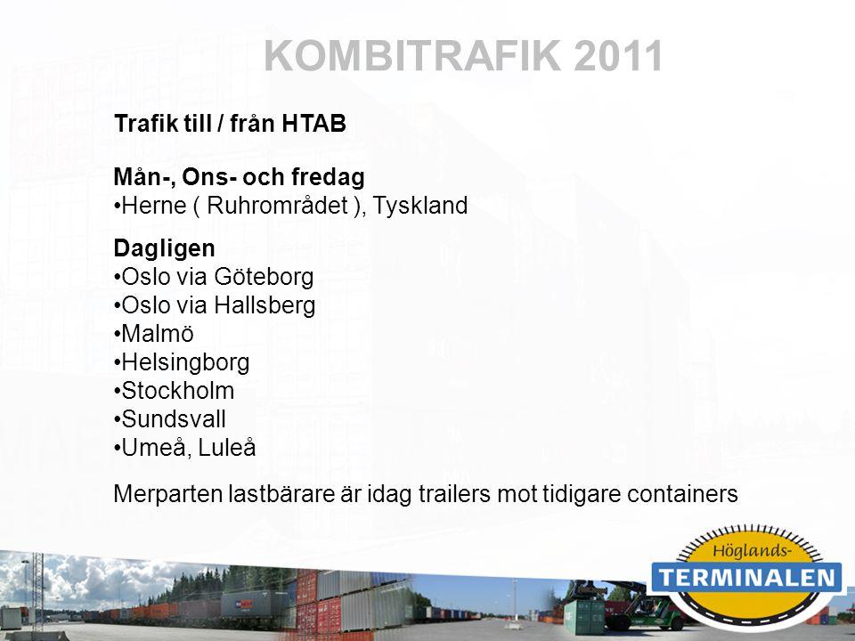 RUBRIK KOMBITRAFIK 2011 Trafik till / från HTAB Mån-, Ons- och fredag Herne ( Ruhrområdet ), Tyskland Dagligen Oslo via Göteborg Oslo via Hallsberg Ma