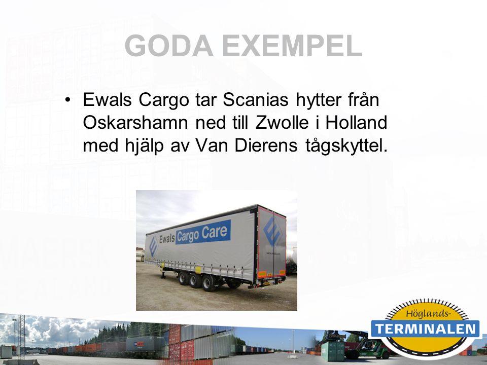 RUBRIK GODA EXEMPEL Ewals Cargo tar Scanias hytter från Oskarshamn ned till Zwolle i Holland med hjälp av Van Dierens tågskyttel.