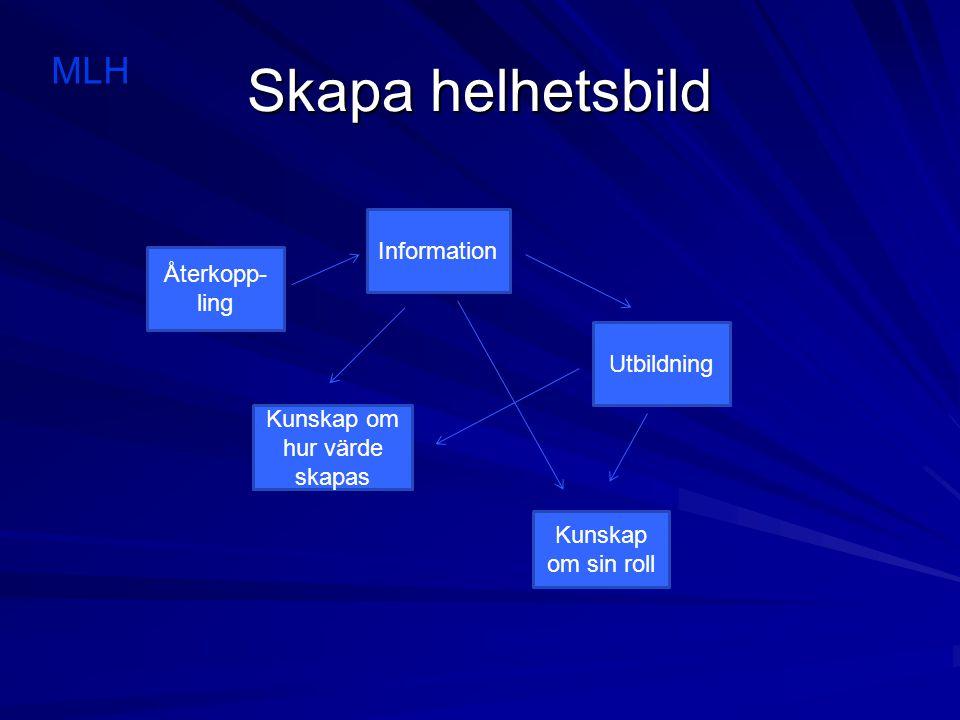 Skapa helhetsbild Information Utbildning Kunskap om sin roll Kunskap om hur värde skapas Återkopp- ling MLH