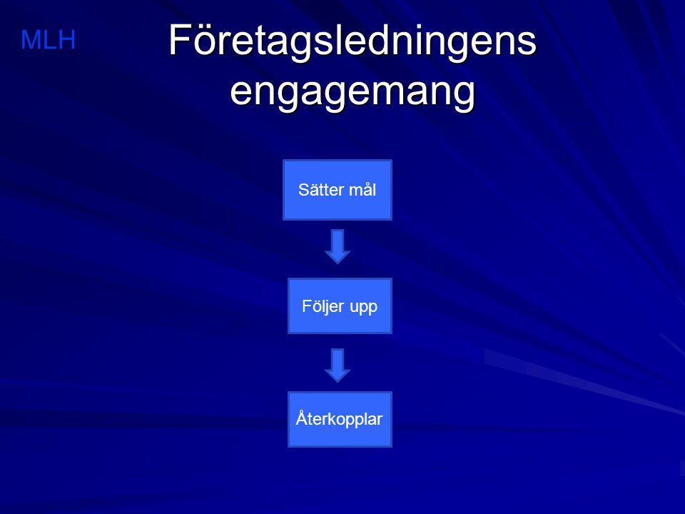 Företagsledningens engagemang MLH Sätter mål Följer upp Återkopplar