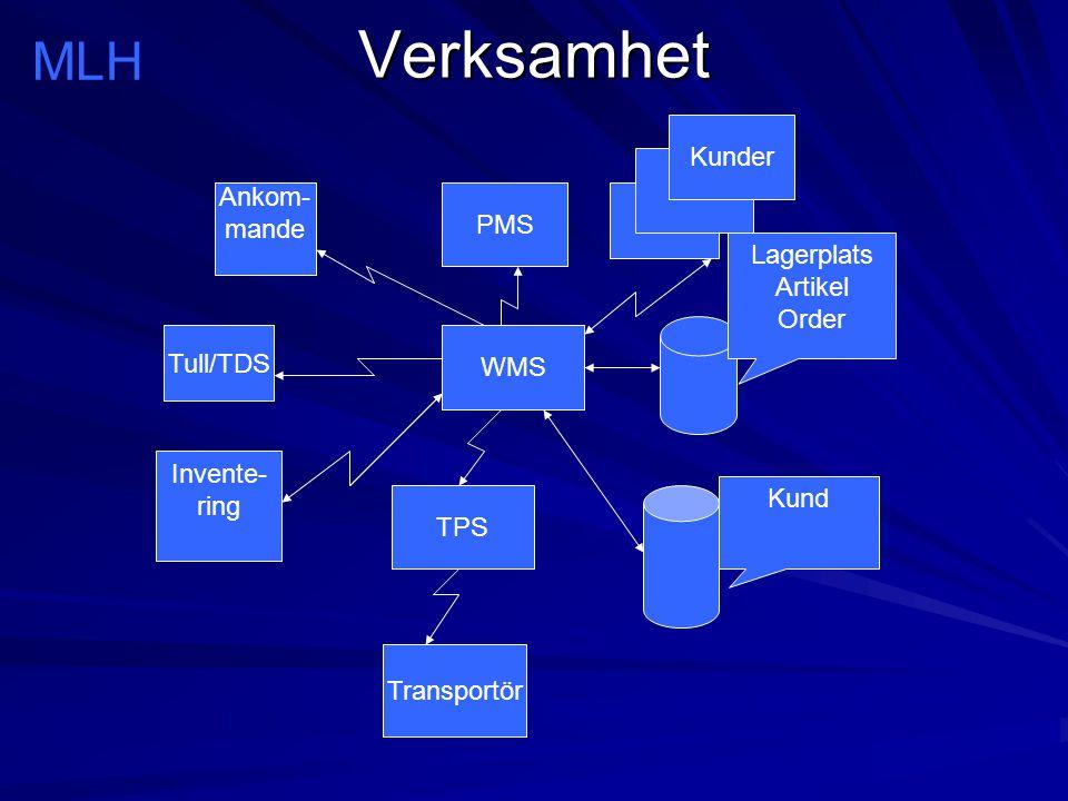 Verksamhet WMS Lagerplats Artikel Order TPS Ankom- mande Tull/TDS Invente- ring PMS Kund MLH Kunder Transportör