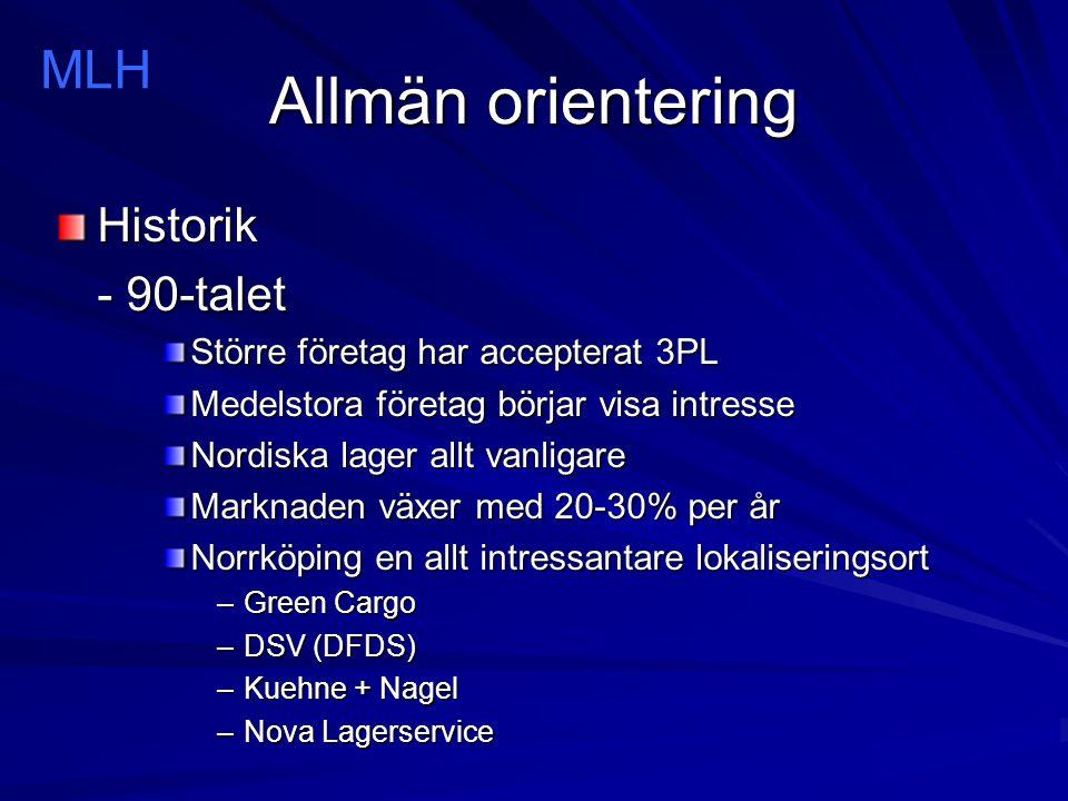 Allmän orientering Historik - 2000-talet Nordiska lösningar dominerar Globala koncept –Supply Chain Management (SCM) Medelstora företag väljer 3PL Mindre företag diskriminerade Marknaden växer med 15-20% per år Norrköping nummer 2 i Sverige MLH