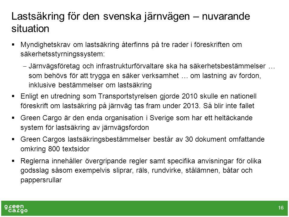 Lastsäkring för den svenska järnvägen – nuvarande situation 16  Myndighetskrav om lastsäkring återfinns på tre rader i föreskriften om säkerhetsstyrn