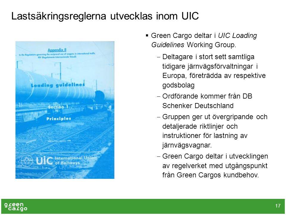 Lastsäkringsreglerna utvecklas inom UIC  Green Cargo deltar i UIC Loading Guidelines Working Group. ‒ Deltagare i stort sett samtliga tidigare järnvä