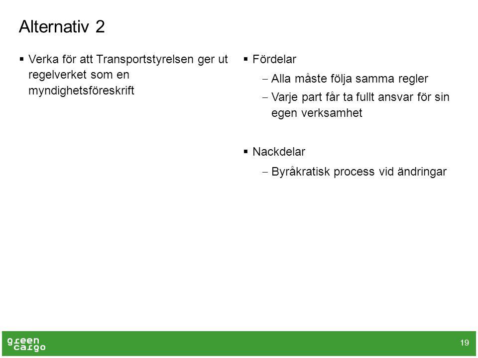 Alternativ 2  Verka för att Transportstyrelsen ger ut regelverket som en myndighetsföreskrift  Fördelar ‒ Alla måste följa samma regler ‒ Varje part