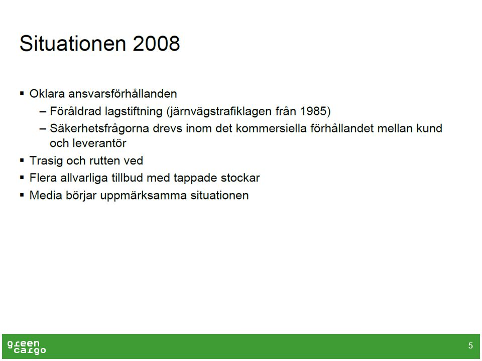 Lastsäkring för den svenska järnvägen – nuvarande situation 16  Myndighetskrav om lastsäkring återfinns på tre rader i föreskriften om säkerhetsstyrningssystem: ‒ Järnvägsföretag och infrastrukturförvaltare ska ha säkerhetsbestämmelser … som behövs för att trygga en säker verksamhet … om lastning av fordon, inklusive bestämmelser om lastsäkring  Enligt en utredning som Transportstyrelsen gjorde 2010 skulle en nationell föreskrift om lastsäkring på järnväg tas fram under 2013.