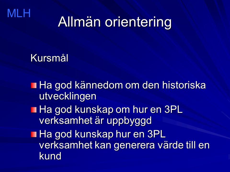 Allmän orientering 3 PL/TPL VMI Vendor Managed Inventory 4 PL.