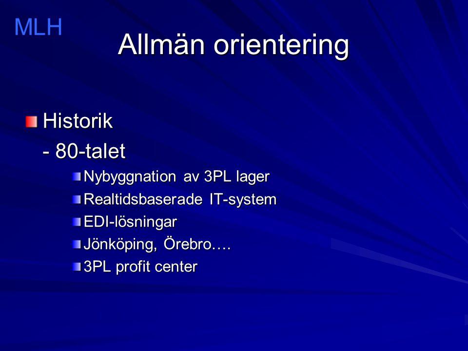 Allmän orientering Historik - 90-talet Större företag har accepterat 3PL Medelstora företag börjar visa intresse Nordiska lager allt vanligare Marknaden växer med 20-30% per år Norrköping en allt intressantare lokaliseringsort –Green Cargo –DSV (DFDS) –Kuehne + Nagel –Nova Lagerservice MLH