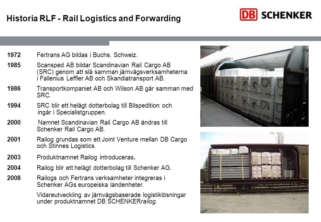 Historia RLF - Rail Logistics and Forwarding 1972Fertrans AG bildas i Buchs, Schweiz.