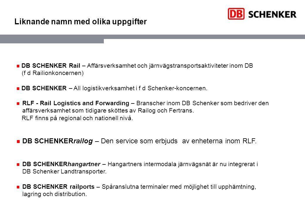 Produkter och tjänster DB SCHENKERrailog DB SCHENKERrailog All service från en enda källa Alternativa logistiklösningar med järnvägen som bas.