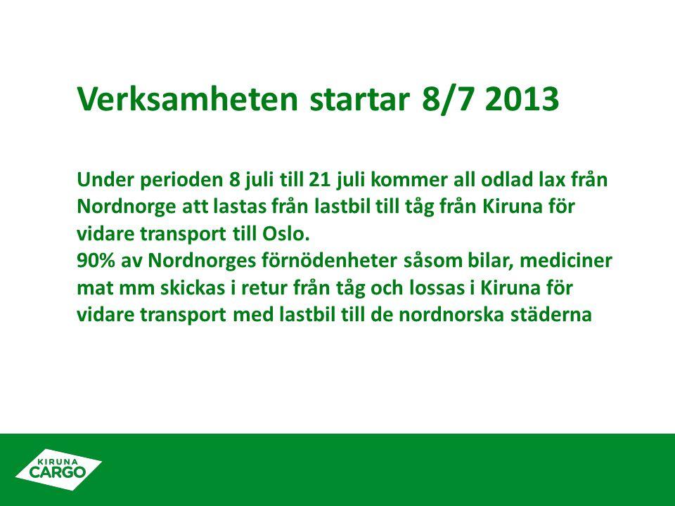 Verksamheten startar 8/7 2013 Under perioden 8 juli till 21 juli kommer all odlad lax från Nordnorge att lastas från lastbil till tåg från Kiruna för vidare transport till Oslo.