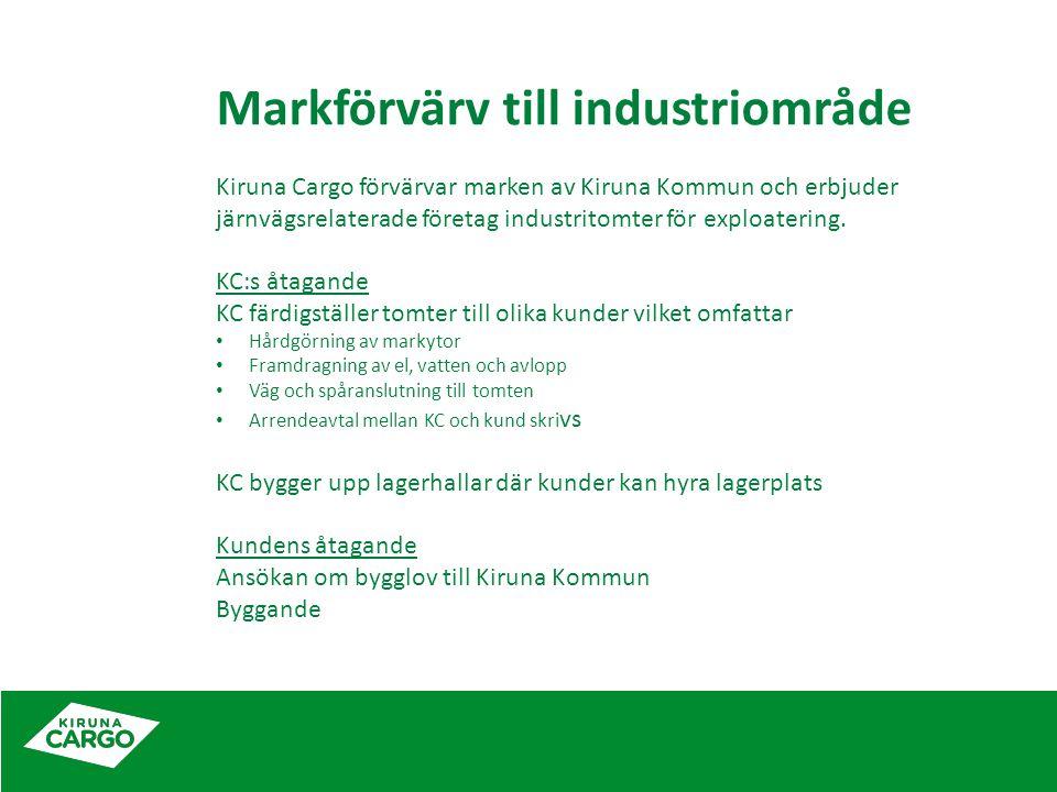 Markförvärv till industriområde Kiruna Cargo förvärvar marken av Kiruna Kommun och erbjuder järnvägsrelaterade företag industritomter för exploatering.