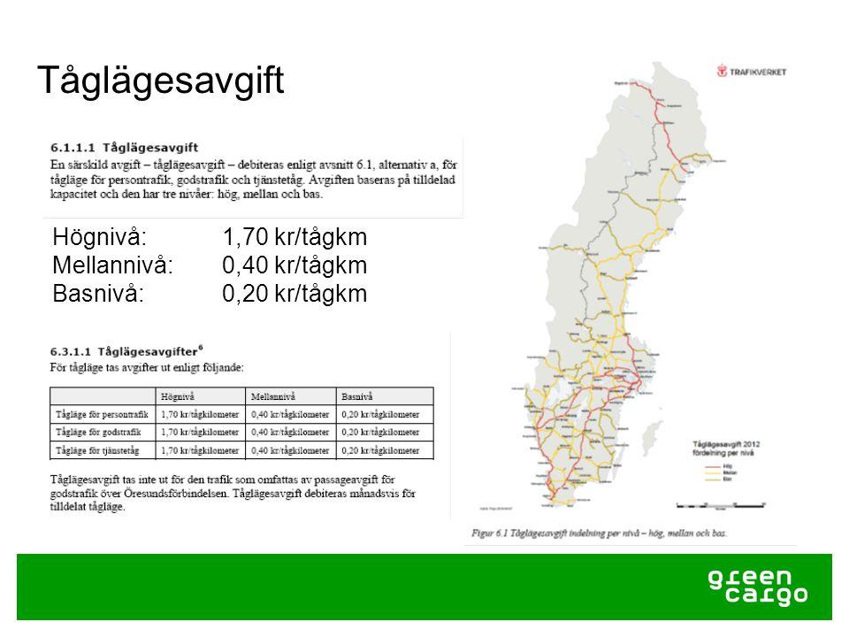 Tåglägesavgift Högnivå: 1,70 kr/tågkm Mellannivå: 0,40 kr/tågkm Basnivå: 0,20 kr/tågkm