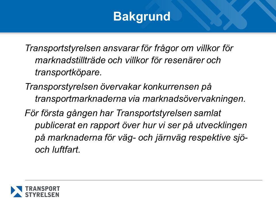 Bakgrund Transportstyrelsen ansvarar för frågor om villkor för marknadstillträde och villkor för resenärer och transportköpare. Transporstyrelsen över