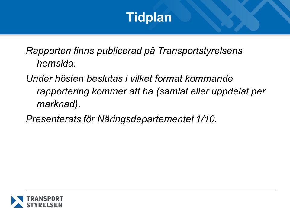 Tidplan Rapporten finns publicerad på Transportstyrelsens hemsida. Under hösten beslutas i vilket format kommande rapportering kommer att ha (samlat e