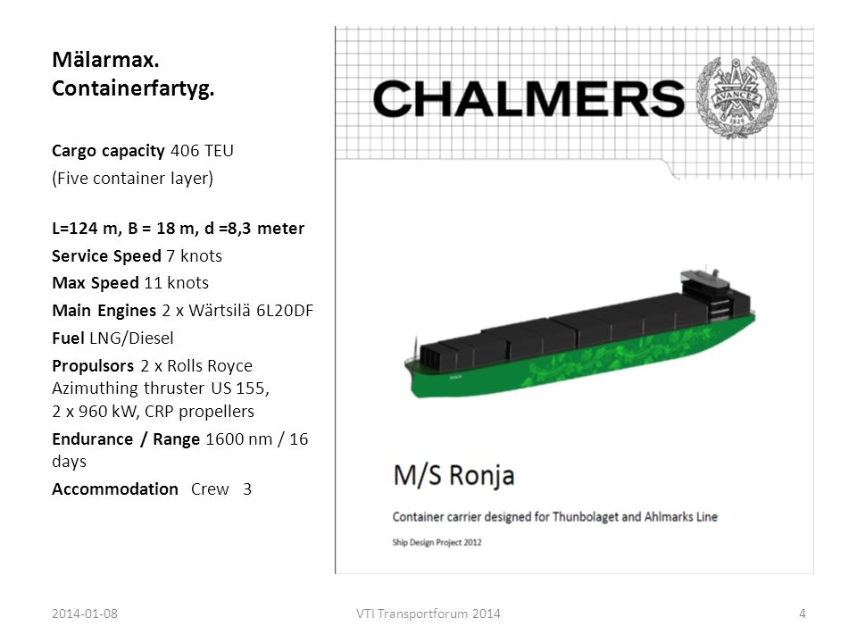 Mälarmax. Containerfartyg. Cargo capacity 406 TEU (Five container layer) L=124 m, B = 18 m, d =8,3 meter Service Speed 7 knots Max Speed 11 knots Main