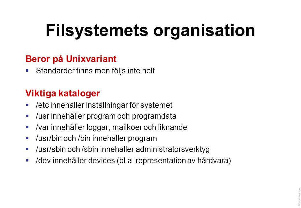 ©2003–2004 David Byers Filsystemets organisation Beror på Unixvariant  Standarder finns men följs inte helt Viktiga kataloger  /etc innehåller inställningar för systemet  /usr innehåller program och programdata  /var innehåller loggar, mailköer och liknande  /usr/bin och /bin innehåller program  /usr/sbin och /sbin innehåller administratörsverktyg  /dev innehåller devices (bl.a.