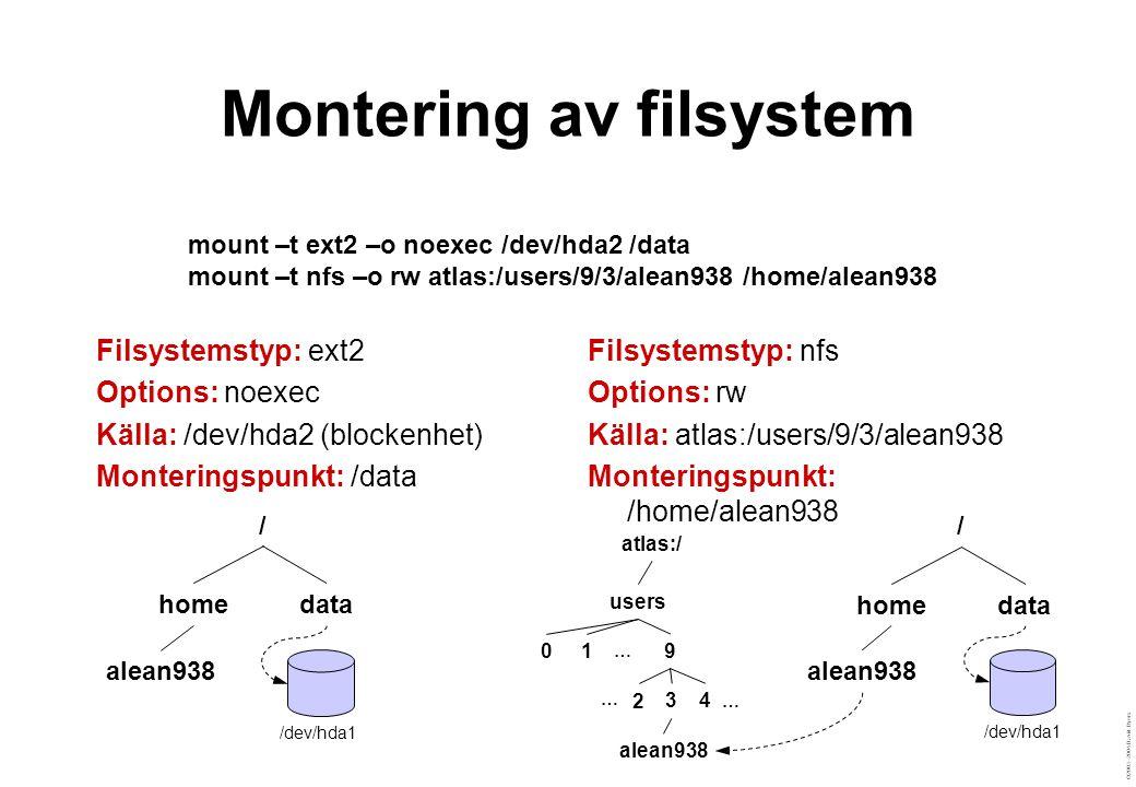 ©2003–2004 David Byers Montering av filsystem Filsystemstyp: ext2 Options: noexec Källa: /dev/hda2 (blockenhet) Monteringspunkt: /data Filsystemstyp: nfs Options: rw Källa: atlas:/users/9/3/alean938 Monteringspunkt: /home/alean938 mount –t ext2 –o noexec /dev/hda2 /data mount –t nfs –o rw atlas:/users/9/3/alean938 /home/alean938 / homedata /dev/hda1 / homedata /dev/hda1 atlas:/ users 01 9 2 34 alean938 … … …