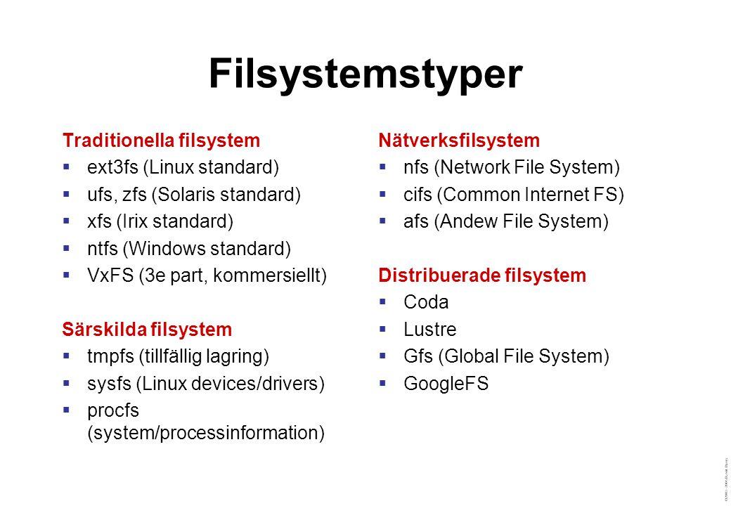 ©2003–2004 David Byers Filsystemstyper Traditionella filsystem  ext3fs (Linux standard)  ufs, zfs (Solaris standard)  xfs (Irix standard)  ntfs (W
