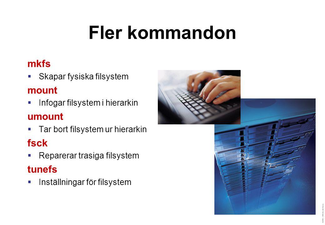 ©2003–2004 David Byers Fler kommandon mkfs  Skapar fysiska filsystem mount  Infogar filsystem i hierarkin umount  Tar bort filsystem ur hierarkin fsck  Reparerar trasiga filsystem tunefs  Inställningar för filsystem