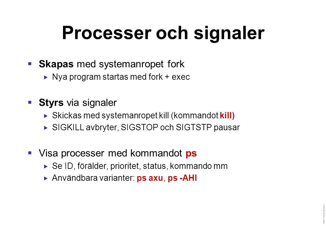 ©2003–2004 David Byers Processer och signaler  Skapas med systemanropet fork  Nya program startas med fork + exec  Styrs via signaler  Skickas med systemanropet kill (kommandot kill)  SIGKILL avbryter, SIGSTOP och SIGTSTP pausar  Visa processer med kommandot ps  Se ID, förälder, prioritet, status, kommando mm  Användbara varianter: ps axu, ps -AHl